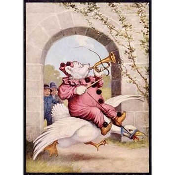 Mother Goose Bear on a Goose Poster