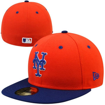 New Era New York Mets Two-Tone 59FIFTY Fitted Hat - Orange/Royal Blue