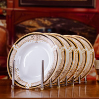 6pcs/set American Dining Room Ceramic Tableware Jingdezhen Bone China Porcelain Dinnerware 8*inch Deep Soup Dishes Sushi Plates