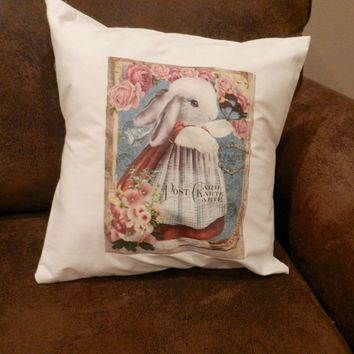 Victorian Cute Dressed Bunny Easter Theme Decorative Pillow Cover