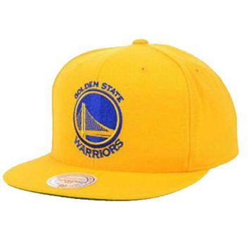 ONETOW Mitchell & Ness NBA Golden State Warriors Solid Yellow Snapback Hat Cap