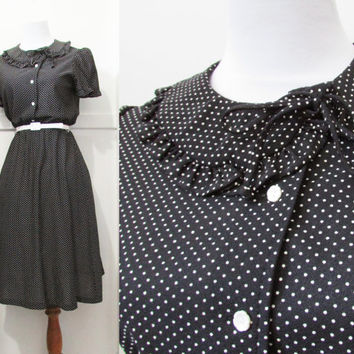 Polka Dot  Dress Vintage 70s Medium
