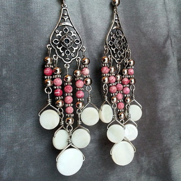 Pink and White Chandelier Earrings - Pink Fossil Stone Beads with Mother of Pearl Shell Dangles - Boho Chandelier Earrings - Gypsy Earrings