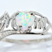 0.50 Ct Opal Heart MOM Diamond Ring Sterling Silver Rhodium Finish White Gold Quality