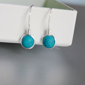 Turquoise Earrings, Sterling Silver Wire wrapped Earrings, Bridesmaid Gifts,