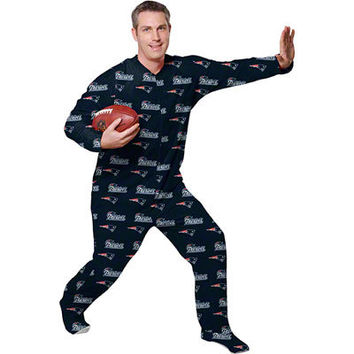 New England Patriots Navy Adult One-Piece ''Mansie'' Footie Pajama Suit