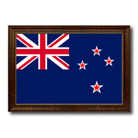 New Zealand Country Flag Canvas Print with Brown Picture Frame Home Decor Gifts Wall Art Decoration Gift Ideas