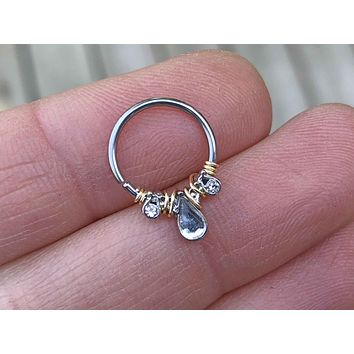 Teardrop Crystal Daith Hoop Ring Rook Hoop Cartilage Helix Tragus
