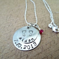 New Mommy Necklace - Sterling Silver New Born - New Baby Hand Stamped Necklace with Birth Date and Name