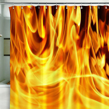 Bath Shower Curtain  fire fireman 911 flame flare blaze