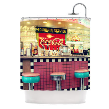 "Sylvia Cook ""Retro Diner"" Coca Cola Shower Curtain"