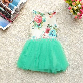 Girls  Toddlers  Summer  Floral  Print  dress