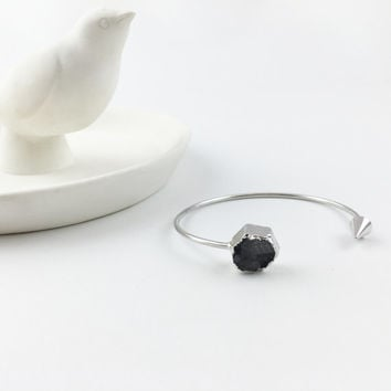 Black Quartz Druzy Hexagon Bangle // Silver Finish // Blackbird Jewelry Luxe Collection // {L067-S}