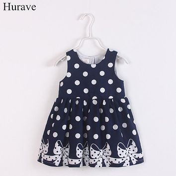 Baby Girls Sleeveless Dress Clothes Children Polka Dot Bows Dress Clothing Kids Circle Collar Casual Dress