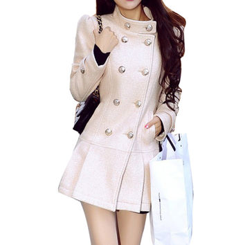 Casacos Femininos Winter Double Breasted Cashmere Pleated Bottom Dress Coat Stand Collar Golden-lined Slim Wool Jacket Coat