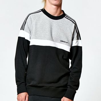 adidas Itasca Heather Grey & Black Crew Neck Sweatshirt - Mens Hoodie - Black