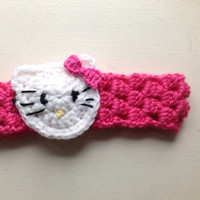 Handmade crochet Hello kitty headband,hello kitty , crochet hello kitty