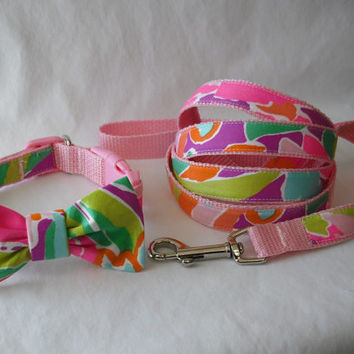 Dog Collar Bow and Leash 3-piece Set Made from Lilly Pulitzer Lulu Fabric Size: Your Choice