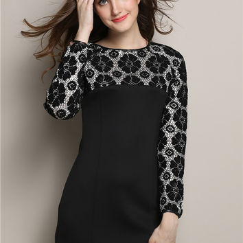 Black Floral Lace Embroidered Long Sleeve Bodycon Mini Dress