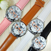 womens men's fashion Cute Glasses Cat Dial Leather band wristwatch Analog Quartz Casual Retro Unique Bracelet Watch = 1956998852