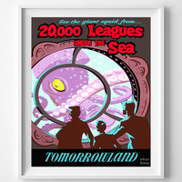 Vintage Disneyland, Poster, Print, 20,000 Leagues, Under The Sea, Disney, Tomorrowland, Reproduction, Restored, Restoration [No 1268]
