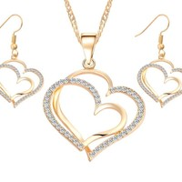 Romantic Heart Pattern Crystal Earrings Necklace Set - Free + Shipping