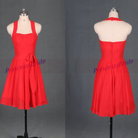 Short red chiffon bridesmaid dresses in 2014,simple halter women gowns for wedding party,cheap cute bridesmaid dress under 100.