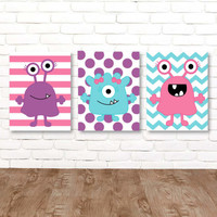 Girl MONSTER Wall Art, Monster CANVAS or Prints, Monsters Theme Big Girl Bedroom Decor, Monster Wall Decor, Set of 3 Toddler Girl Room Decor