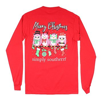 Long Sleeve Owl Christmas Tee in Red by Simply Southern
