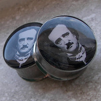 "Edgar Allan Poe Plugs - One PAIR - Sizes 2g, 0g, 00g, 7/16"", 1/2"", 9/16"", 5/8"", 3/4"", 7/8"", 1"" - Made To Order"