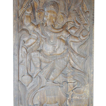 Vintage India Hand Carved Wood Wall Sculpture Ganesha Door Panel Natural Finish Grounding CHAKRA Zen Interior Design