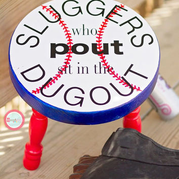 Baseball Stool, Sports Stool, Hand Painted Stool, Step Stool, Kids Bench, Personalized Stool, original slugger Wood Furniture Children Stool