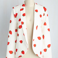 Flash Into Interview Blazer in Strawberries | Mod Retro Vintage Jackets | ModCloth.com