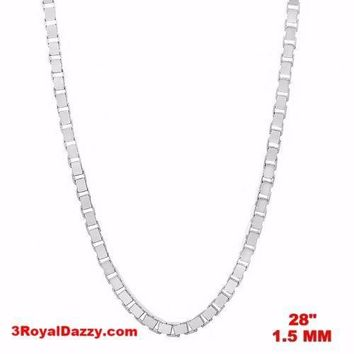 """Italy 14k white gold layered over Solid 925 sterling silver Box Chain- 1.5mm 28"""""""
