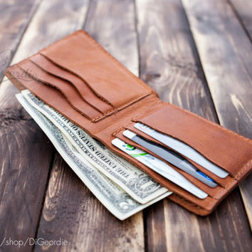 Credit card wallet brown genuine leather wallet slim wallet minimal wallet billfold wallet wallets for men leather card holder travel wallet