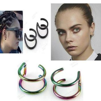 ac ICIKO2Q 2pcs/lot Illusion Captive Bead Rings, Fake Cartilage Clip-On Ring ,Helix Earrings, Non Pierced Clip On Closure Ring Sold