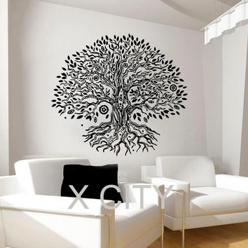 Pipal Bo Tree Wall Decals Namaste Vinyl Sticker Yoga Studio Gym Decor Home Window Door Room Interior Design Art Murals