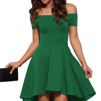 Green All The Rage Off Shoulder Skater Dress