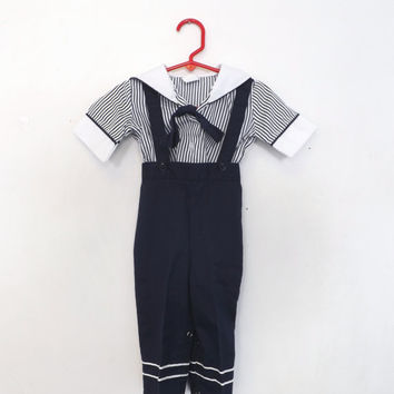Vintage Size 12 Months Kids Blue White Striped Sailor Overalls Shirt Two Piece Outfit Jumper Romper Anchor Baby Boy Girl Nautical R Gee