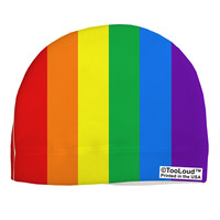 Rainbow Vertical Gay Pride Flag Adult Fleece Beanie Cap Hat All Over Print by