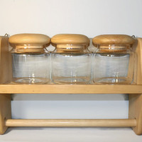 Vintage Wall Mounted Clear Glass Canister Set with Wood Tops, Paper Towel Holder