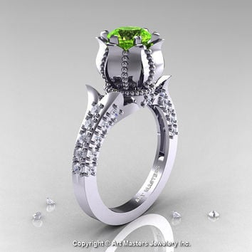 Classic 14K White Gold 1.0 Ct Peridot Diamond Solitaire Wedding Ring R410-14KWGDP