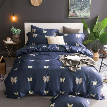 TUTUBIRD-Royal Blue 100% Luxury Egyptian cotton Bedding Set butterfly princess bedlinen bed sheet set long staple duvet covers