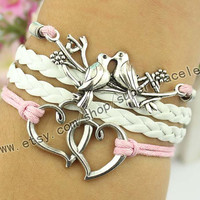 Bird bracelet, double heart bracelet, ancient silver charm, pink - white color leather rope, girlfriend and BFF