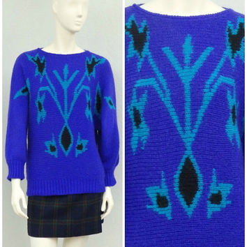 Vintage 80s Blue Purple and Teal Oversized Abstract Sweater, Batwing Sweater, Dolman Sleeve, Fuzzy Chunky Knit Sweater