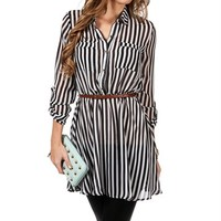 Vertical Striped Button Up Dress