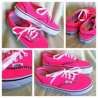 Neon Pink Bling VANS SHOES