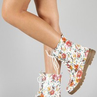 Gwen-02HI Floral Lace Up Boot