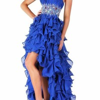 Ruffles High Low Prom Dresses Party Dress for Wedding Bride Formal Gowns (Blue)