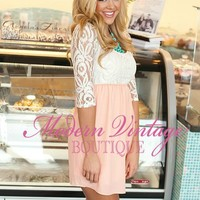 Light Peach Lovely Lace Floral Dress